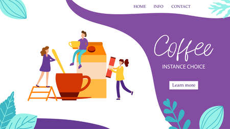 Concept of landing page with characters make morning coffee with milk for good mood in flat style. Wake up vector illustration with tiny people for web banner