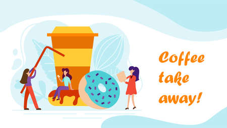 Coffee break concept with tiny people, cup and donut in flat style. Serve client web page illustration for cafe card, menu, print. Creative lunch vector poster