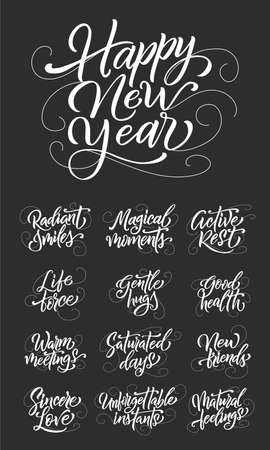 Happy New Year lettering set. Handdrawn script quotes for greeting card, invitation or poster. Vector emblem, text design