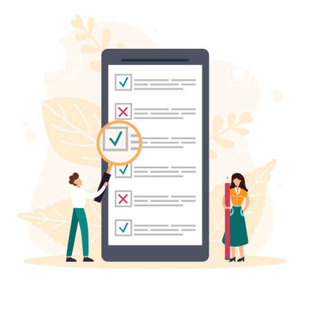 People filling online survey form on mobile screen. Tiny person with magnifying glass nearby giant checklist. Customer feedback, service rate. Flat vector illustration