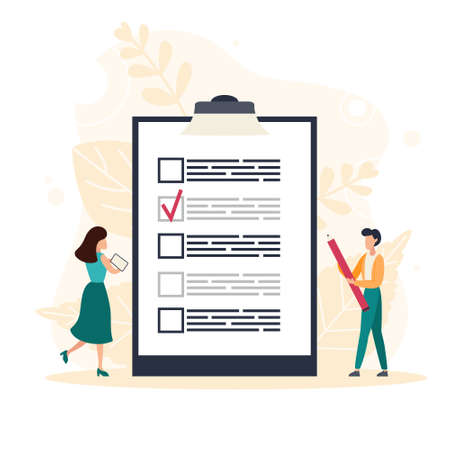Complete checklist and check mark ticks. Man holding pencil while looking at a completed checklist on a clipboard. Flat vector illustration Illustration