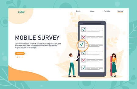 Online survey landing page template with header. Tiny person with magnifying glass nearby giant checklist. Can use for web banner, infographics, hero images. Flat vector illustration