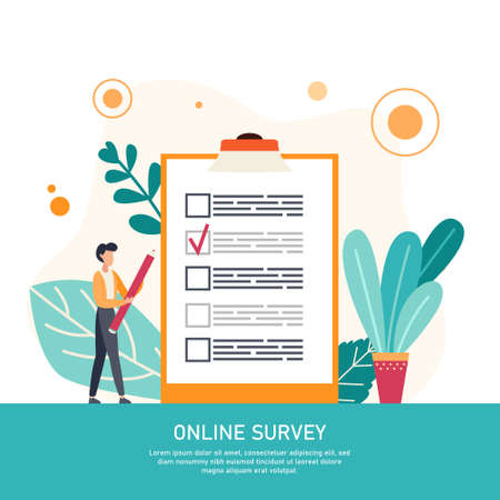 Online survey business concept with tiny people. Internet questionnaire form. Man fills out the giant clipboard checklist and check mark ticks. Flat vector illustration