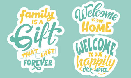 Set of home quote on white background. Photography family overlays. Hand drawn lettering poster for housewarning poster, greeting card, decoration. Vector illustration