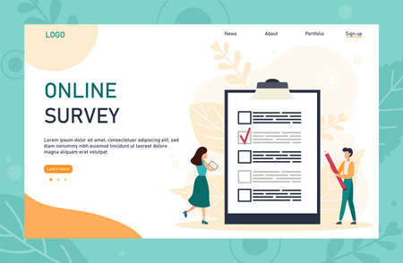 Online survey landing page template with header. Man holding pencil while looking at a completed checklist on a clipboard. Can use for web banner, infographics, hero images. Flat vector illustration Illustration