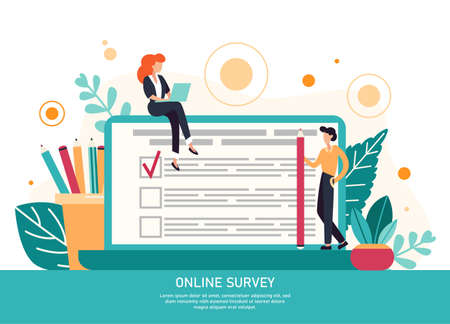 Character filling online survey form on huge laptop screen. Business concept with tiny people. Internet questionnaire form. Flat vector illustration