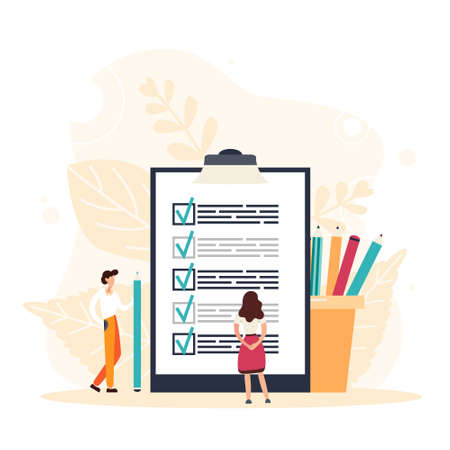 Check list with done mard, businessman with questionnaire on clipboard. Planning schedule concept. Flat Vector Illustration