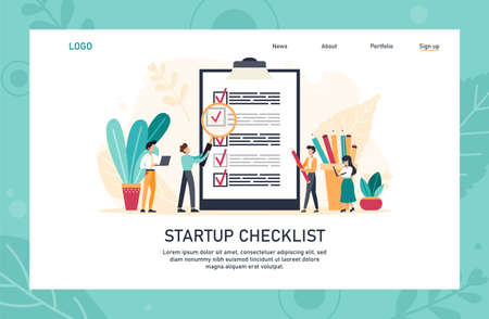 Application landing page template. People creating and checking plan on huge check list. Man points in the direction marked by a checklist on whiteboard paper. Flat vector illustration