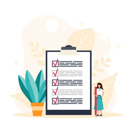 Woman holding a pencil completing checklist on clipboard. Successfully complete business assignments. Flat vector illustration Illustration