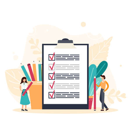 Business man with giant pencil nearby marked checklist on a clipboard paper. Successful completion of tasks. Flat vector illustration