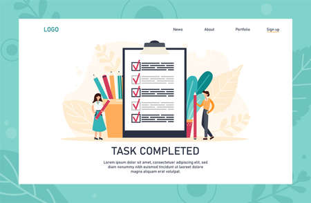 People creating and checking plan on huge check list application landing page template. Man points in the direction marked by a checklist on whiteboard paper. Flat vector illustration