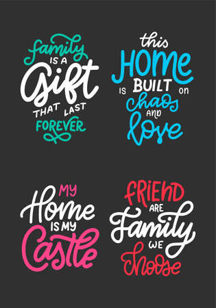 Set of home quote on blackboard background with chalk. Hand drawn lettering poster for housewarning poster, greeting card, decoration. Vector illustration