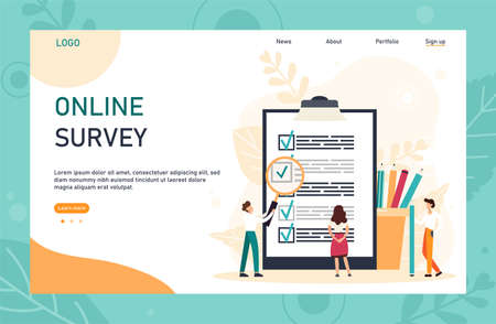 Character filling online survey form on huge clipboard. Business concept with tiny people. Internet questionnaire form. Flat vector illustration