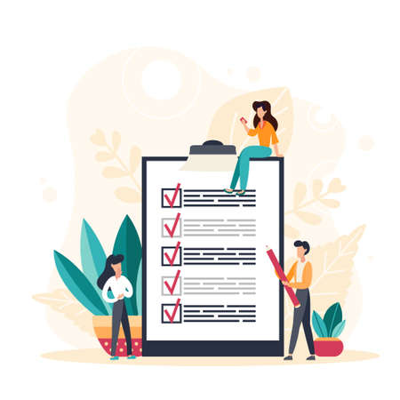 Attendance concept. Check list with done mard, businessman with questionnaire on clipboard. Flat Vector Illustration for web banner, infographics, mobile