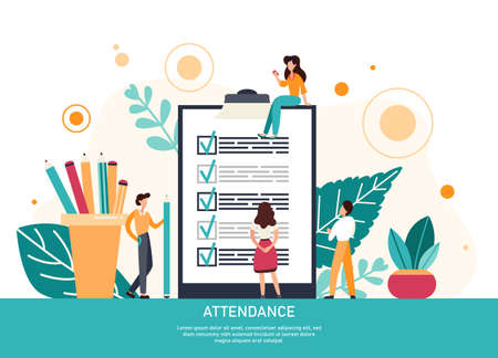 Attendance concept. Check list with done mard, businessman with questionnaire on clipboard. Flat Vector Illustration