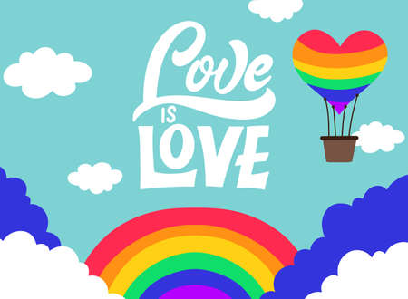 Love is love. LGBT lettering quote. Pride poster concept with colorful rainbow. Vector illustration for placard, card design