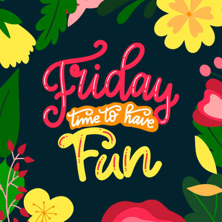 Week days hand drawn calligraphic quote. Brush lettering with flat flowers. Typography poster for your design. Vector illustration Vettoriali