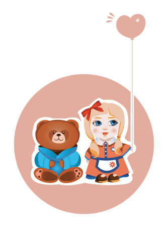 brown haired girl: Vector illustration of a pretty girl and a funny bear Illustration