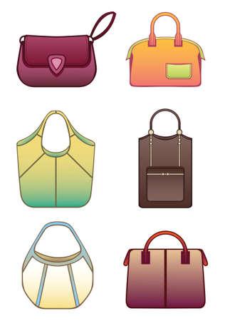 purse: Vector illustration of six bags Illustration