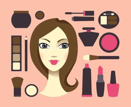 Woman and cosmetics Vector