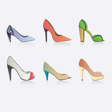high heeled shoe: Vector illustration of six shoes