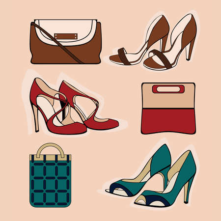heeled: Vector illustration of six shoes