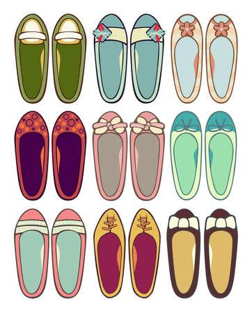 flat foot: Ballerinas Illustration