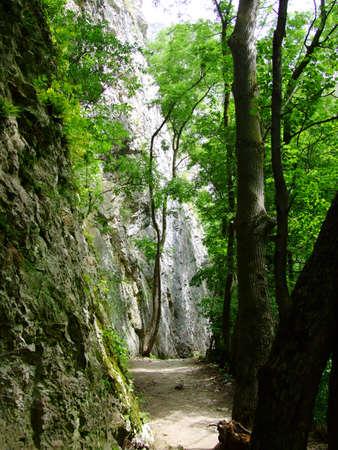turda: Turda keys mountain pass with stone wall Stock Photo