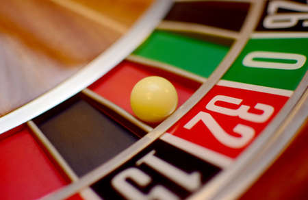 two wheel: roulette wheel and the ball in the winning number thirty two Stock Photo