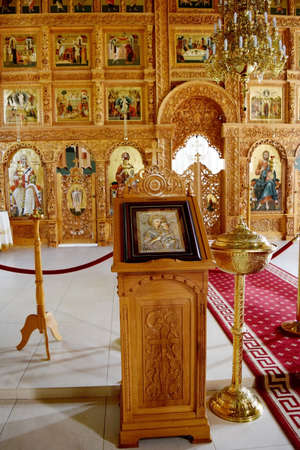 lectern: religious altar view inside Sag Monastery Timisoara