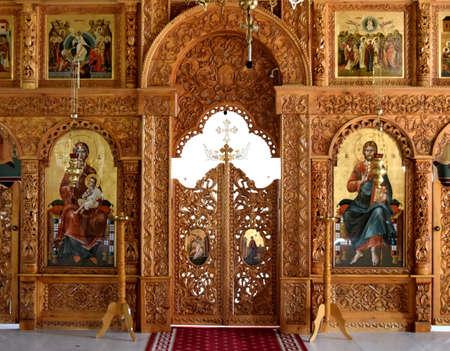 religious altar view inside Sag Monastery Timisoara