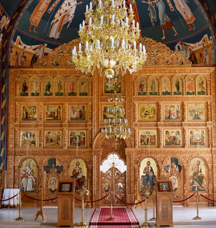 sag: religious altar view inside Sag Monastery Timisoara