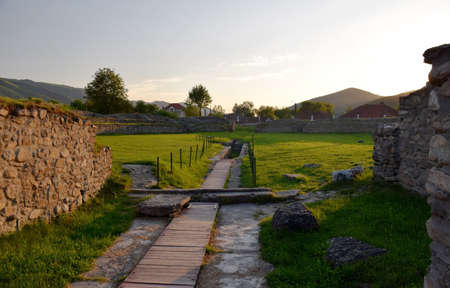 past civilization: Ulpia Traiana Sarmisegetusa Ancient Amphitheatre Ruins In Romania Hateg Country