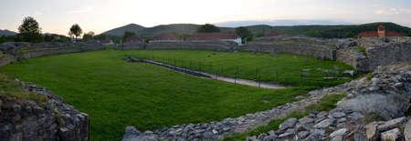 vestige: Ulpia Traiana Sarmisegetusa Ancient Amphitheatre Ruins In Romania Hateg Country