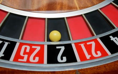two wheel: ball in winning number two at roulette wheel