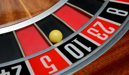 ball in winning number ten at roulette wheel