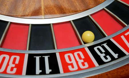 thirteen: ball in winning number thirteen at roulette wheel