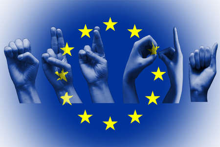 word europa over the european union flag deaf sign on white