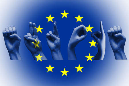 word europe over the european union flag deaf sign on white Stock Photo