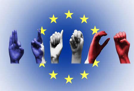 word france over the european union flag deaf sign on white