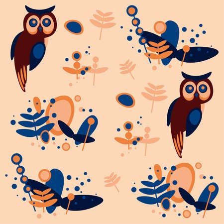 owl pattern, Illustration