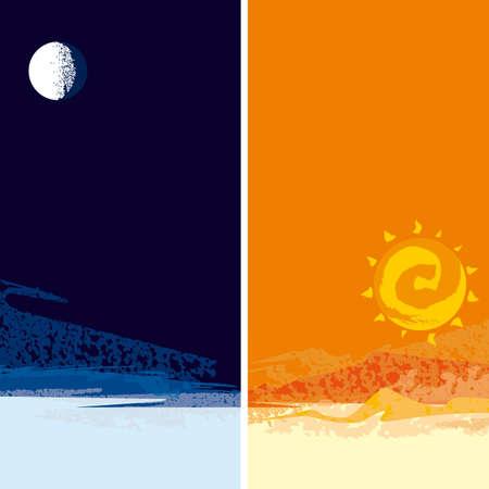 moon, sun Illustration