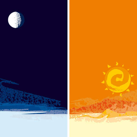 moon, sun Illustration