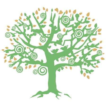 tree, bird, heart Illustration