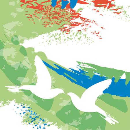 Doves in flight Illustration