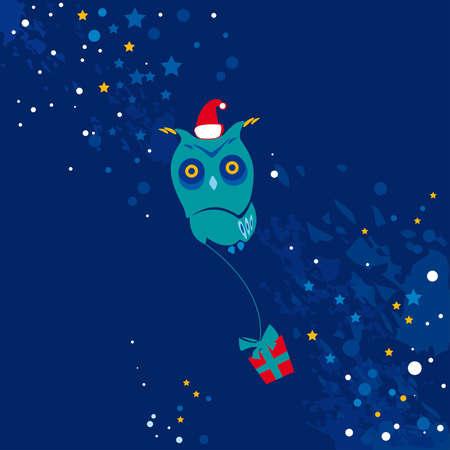 Owl, merry christmas Illustration