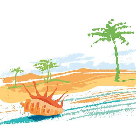 Sea sand, palm, beach
