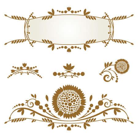 Vintage frame, Set of ornamental design elements