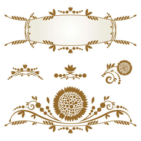 Vintage frame, Set of ornamental design elements