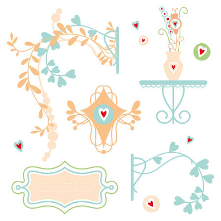 Set of frames and floral elements Illustration